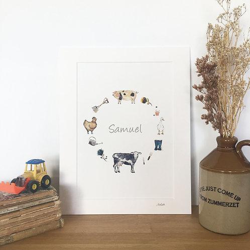 Farmyard Personalised Children's Print