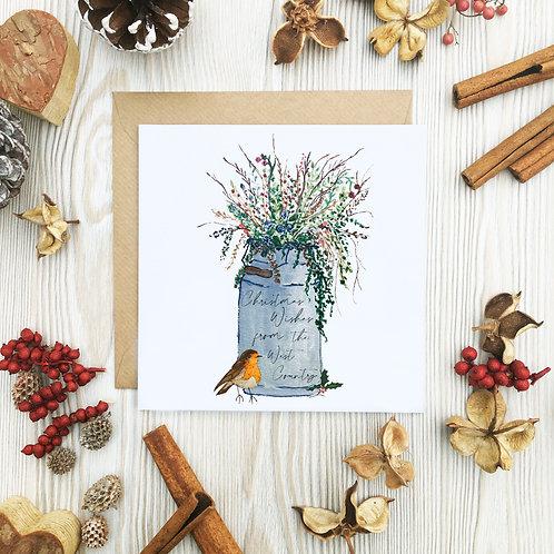 West Country Milk Churn Christmas Card