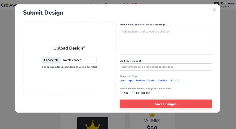 Submit design modal