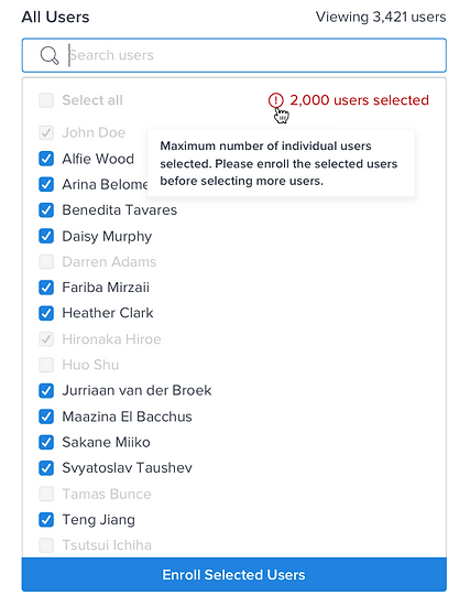 Example of what happens when you select the maximum number of users.