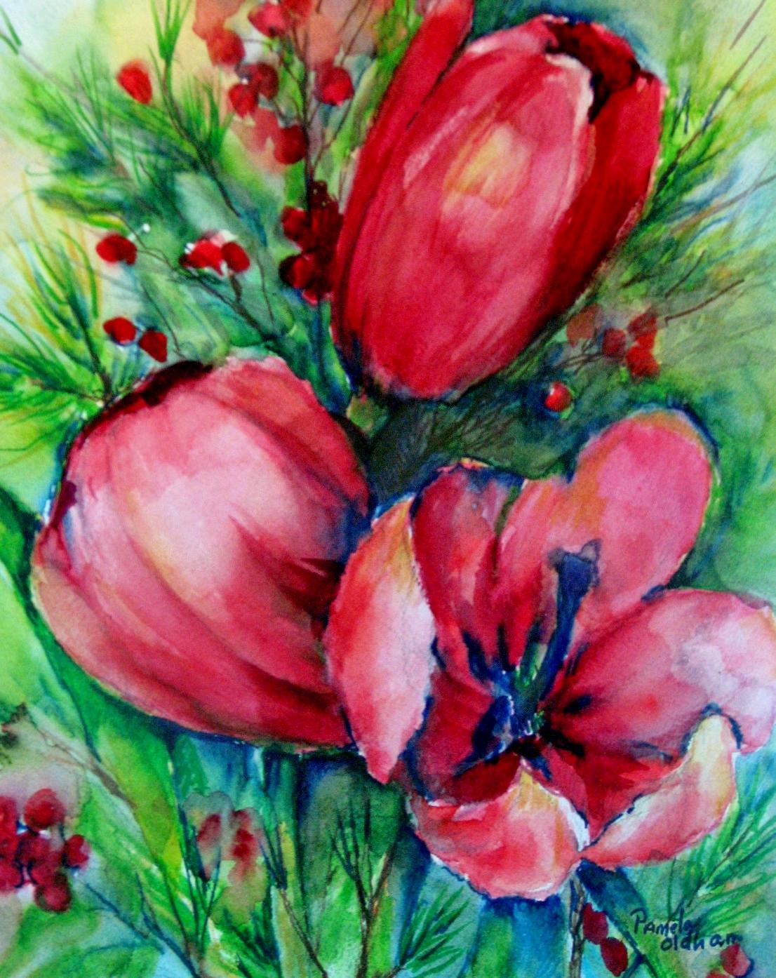 Cranberry Tulips
