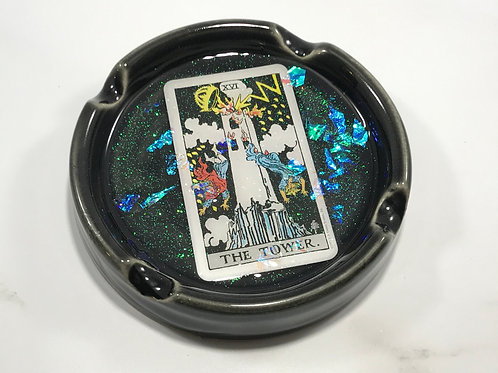 The Tower Black Tarot Card Ash Tray