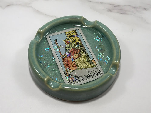 King of Wands Teal Tarot Card Ash Tray