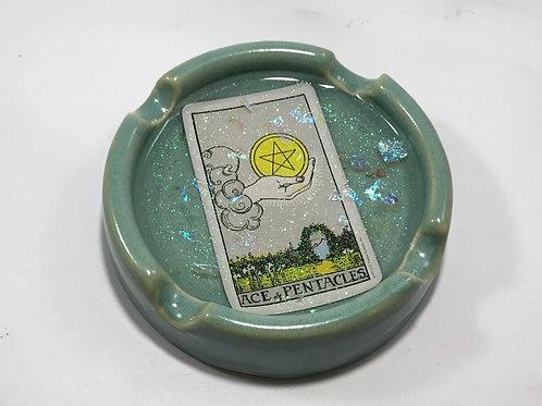 Ace of Pentacles Teal Tarot Card Ash Tray