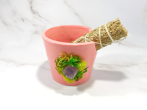 Pink and Amethyst Sage Holder with Blue Sage