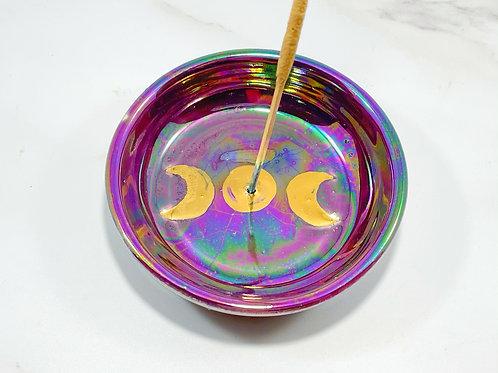 Purple iridescent moon phase incense burner