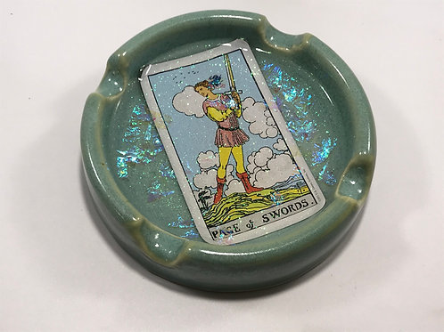 Page of Swords Teal Tarot Card Ash Tray