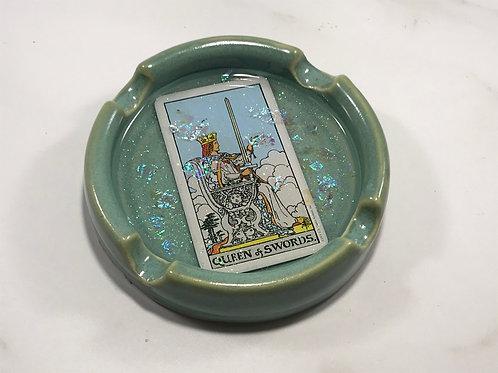 Queen of Swords Teal Tarot Card Ash Tray