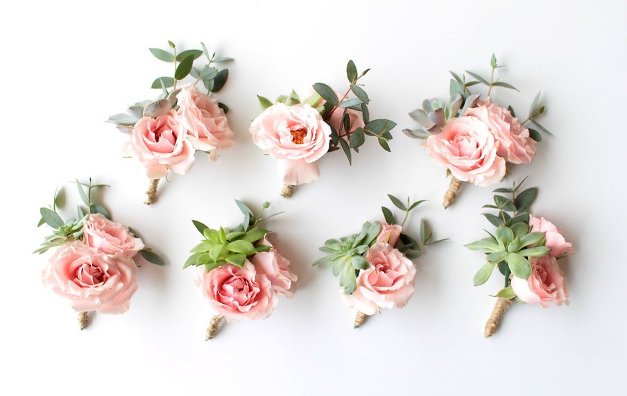 Matching Pink Boutonnieres with Succulents