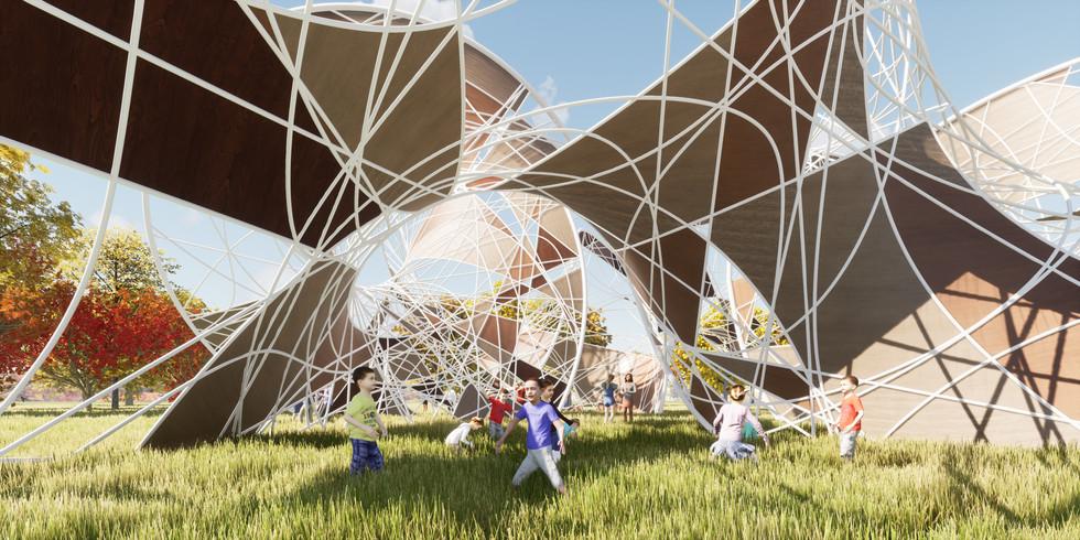 Random Crossing Pattern on Mobius Pavilion