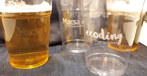 Laser marking on PET cups by Macsa CO2 Laser