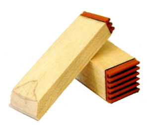 Peg stamps are often used for small imprints or for stamps that need to fit into small, hard-to-get-to or tight places.