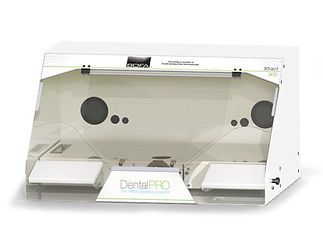 Dust and fume extraction cabinet for multiple hand finishing dental laboratory applications.