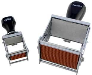 Heavy-duty metal self-inking stamps have the ink pad built-in for fast and easy marking. RIBbase is affixed to the die plate to allow for interchangeable messages.