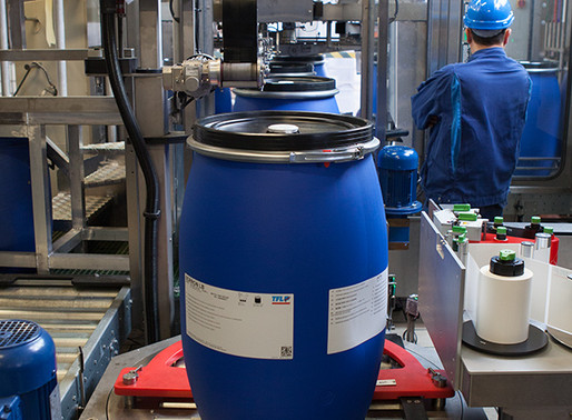 At TFL various chemical containers are labeled with Hermes C systems