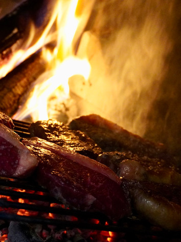Grilling Meat At New Years Eve