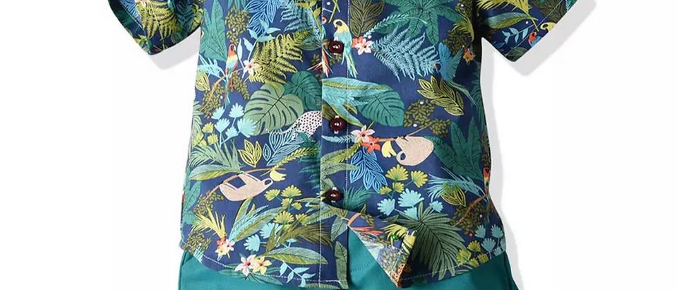 ensemble hawaïen chemisette et short  noeud papillon  vintage surf plage