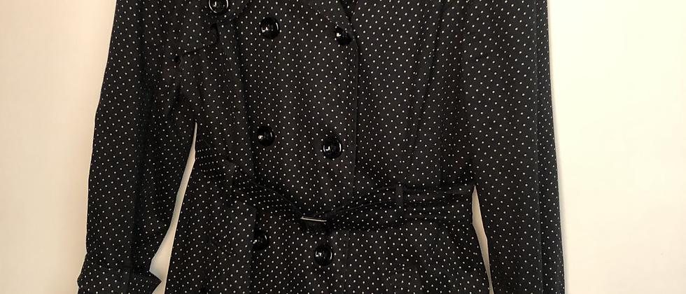Trench coat noir & blanc à pois