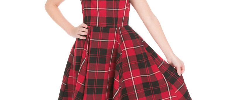 Robe Swing Tartan   rouge ou fuchsia