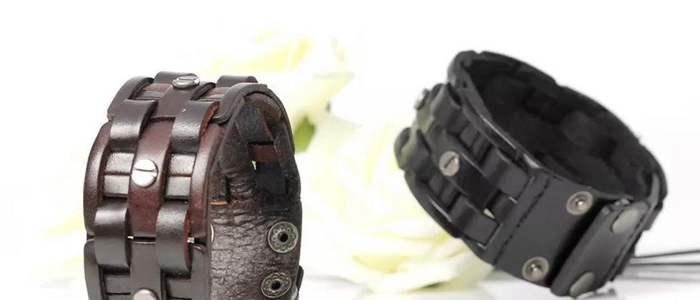 bracelet homme tendance en cuir tissé a la main