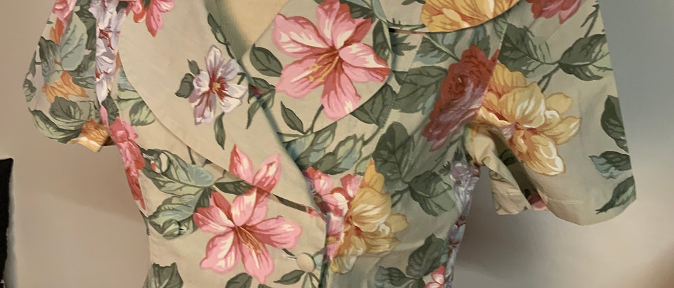 Veste coton à fleurs rétro vintage