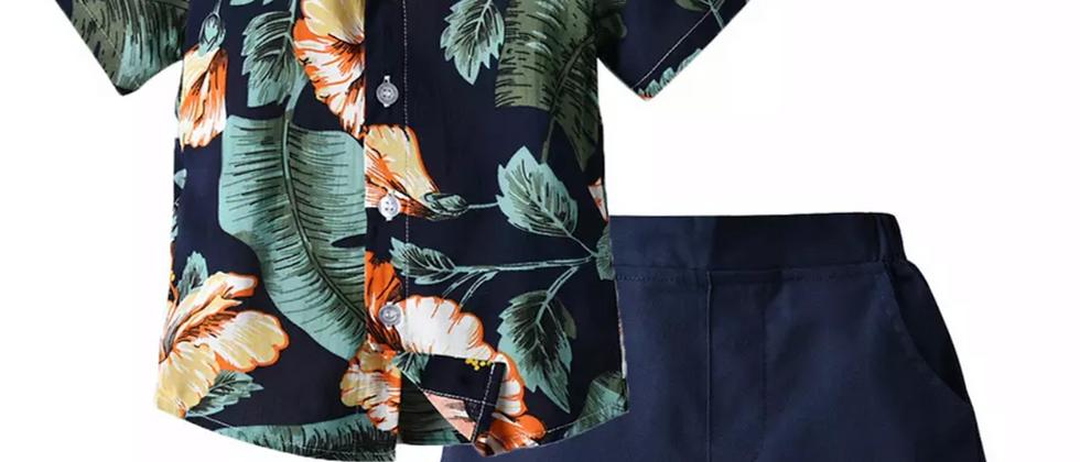 ensemble hawaïen chemisette et short   vintage surf plage