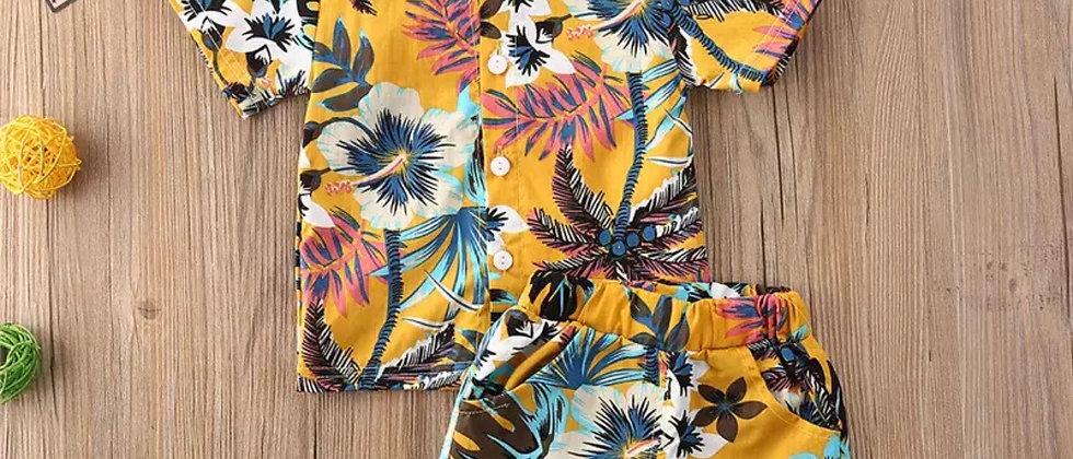 ensemble hawaïen chemise & short  retro vintage
