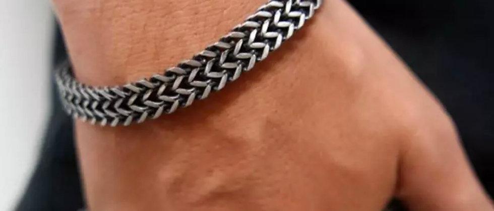 bracelet à double chaine en acier effet oxydé vintage