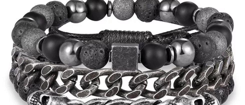 Ensemble de bracelets homme tendance en perle hématite et chaine en acier