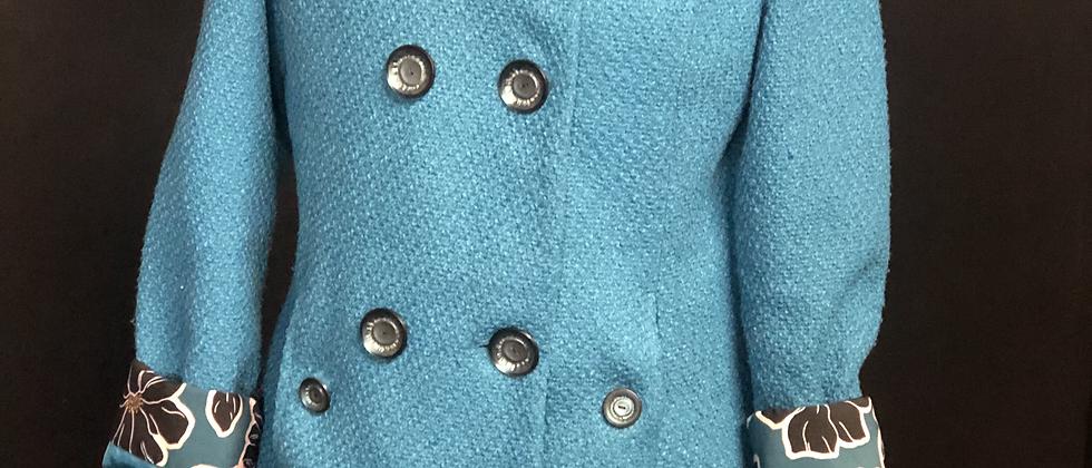Manteau Turquoise Capuche Tissus Fleurie