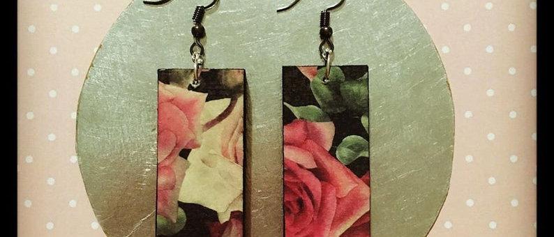 Boucles d'oreilles en bois motif Roses