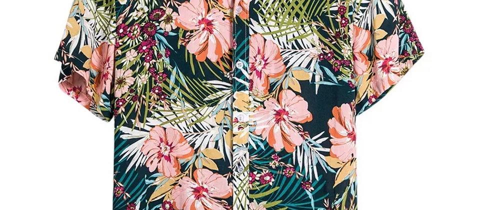 Chemise hawaïenne fleurie surf plage rétro