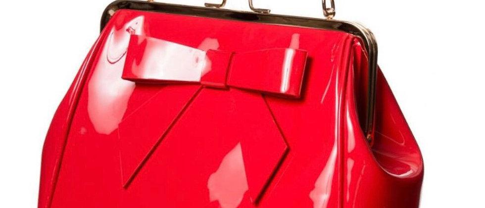 Sac à main rétro vernis avec noeud décoratif