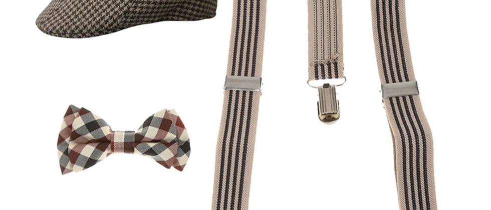 Set de bretelles ajustables ,noeud papillon et casquette