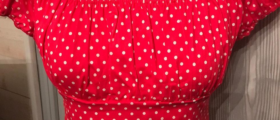 blouse pin-up vintage rouge à pois blanc