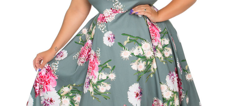 """Robe swing """"Lamour""""  Grise a fleurs roses"""