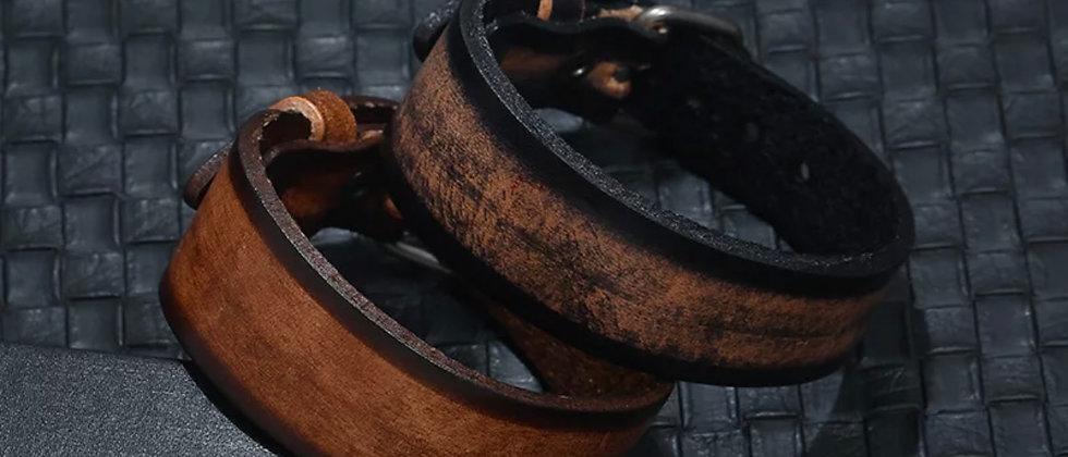 bracelet homme tendance en cuir aspect vieilli
