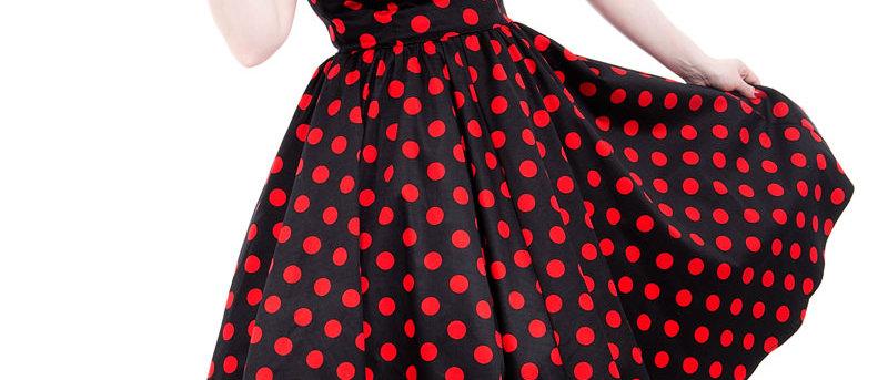 """Robe swing """"Polka Dot""""  rouge et noire"""