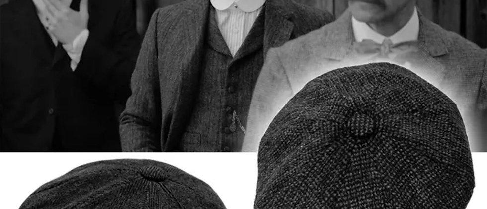 Casquette béret Vintage en tweed , gavroche Gatsby peaky blinders