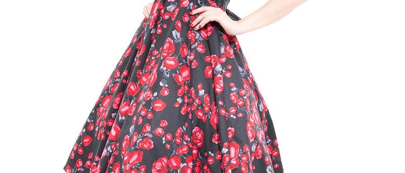 "Robe swing ""Taffeta"" Red Roses"