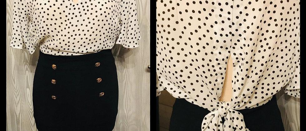 blouse pin-up vintage blanche à pois noir