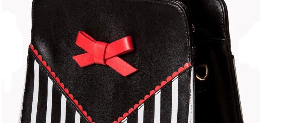 Sac à main rétro vernis à rayures avec noeud