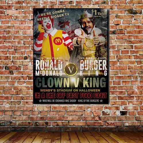 RONALD McDONALD VS THE BURGER KING WALL PRINT