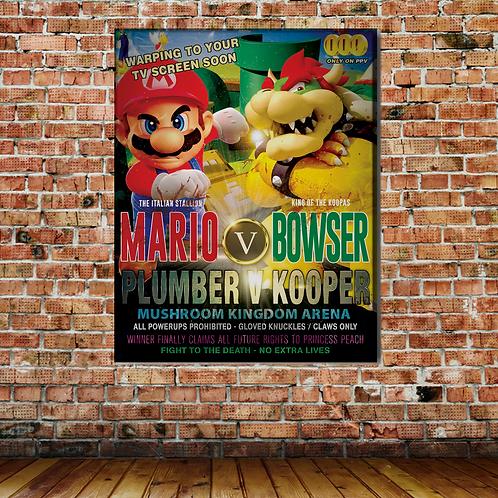 MARIO VS BOWSER WALL PRINT