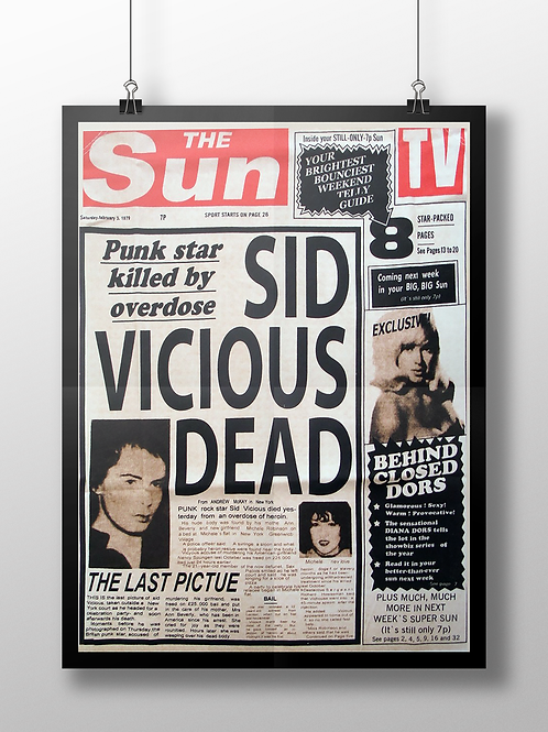 Sid Vicious DEAD Sun Newspaper Front Page