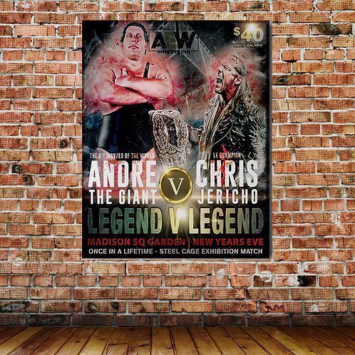 CHRIS JERICHO VS ANDRE THE GIANT WALL PRINT