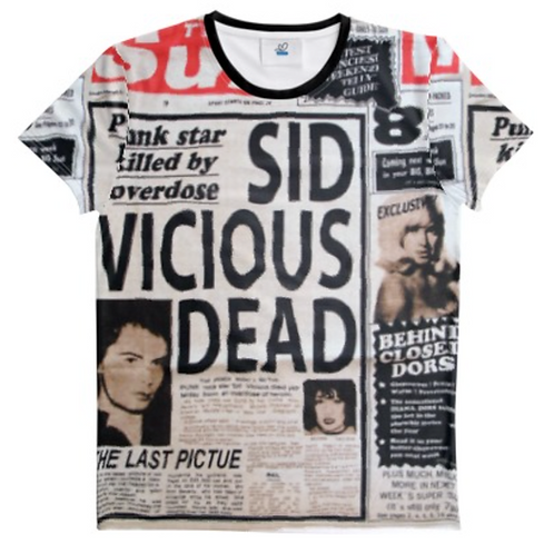 SID VICIOUS - DEAD - NEWSPAPER ALL OVER PRINT