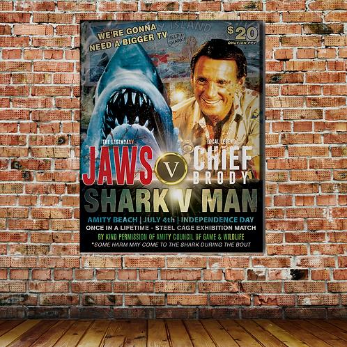 JAWS VS BRODY WALL PRINT