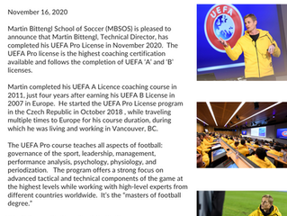 UEFA Pro License completed by Martin Bittengl