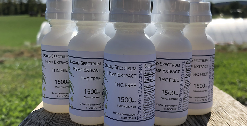 Case (6pc) 1500mg Broad Spectrum THC-FREE Unflavored Tincture